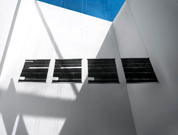 snow+concrete XII, Polyptych, 4 B&W Photographs on Fused Glass, Wire-Suspension, Installation Private Collection Ibiza, 2012/13, © G. Roland Biermann