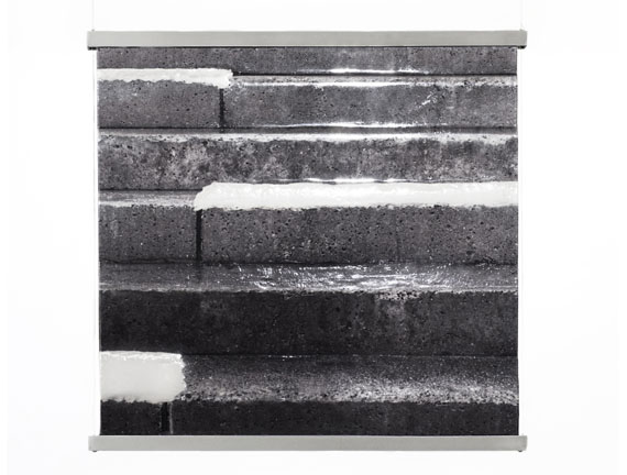 snow+concrete XII, image 1, B&W Photograph on Fused  Glass, Wire-Suspension, 2012,  © G. Roland Biermann