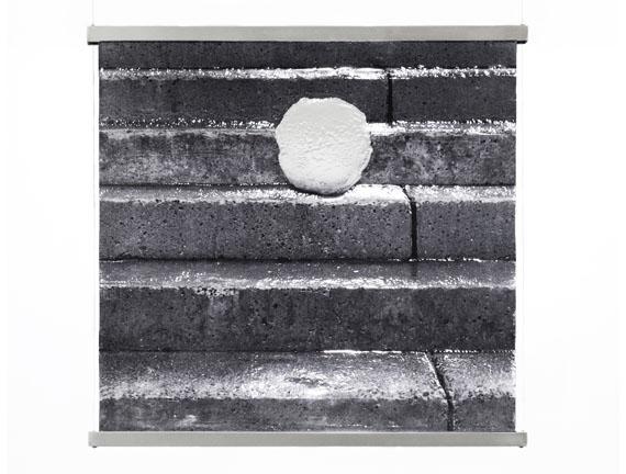snow+concrete XIV, image 1, B&W Photograph on Fused Glass, Wire-Suspension, 2012, © G. Roland Biermann