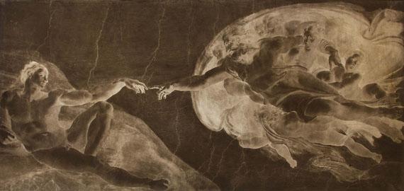 Adolphe Braun (1811-1877)Rome, c. 1869.Le plafond de la Chapelle Sixtine par Michel-Ange. La création d'Adam.Collodion glass negative.92,5 x 136 cm