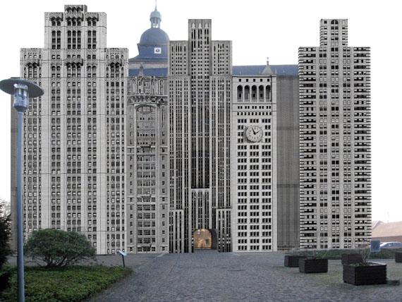 """Bettina Pousttchi """"The City"""" 2014, Fotoinstallation, Fassade Schloss Wolfsburg (Simulation)© Bettina Pousttchi"""