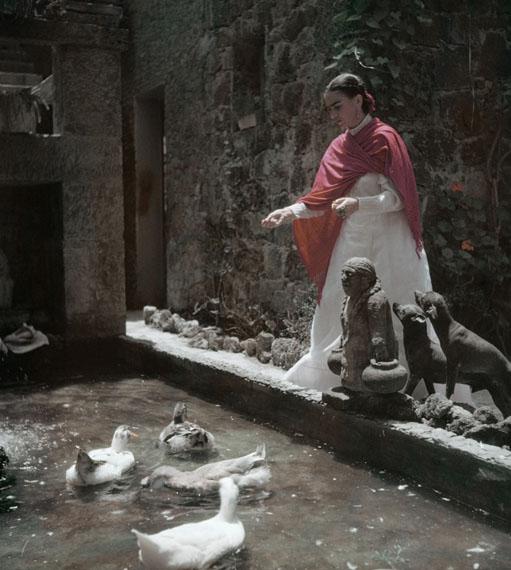Gisèle Freund             Frida Kahlo im Garten, Coyoacan, Mexico City, ca. 1948© IMEC, Fonds MCC, Vertrieb bpk / Photo Gisèle Freund