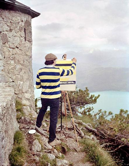 Fabian Schubert: aus Selbstporträt Landschaft, Herzogstand, nach Franz Marc, 2013