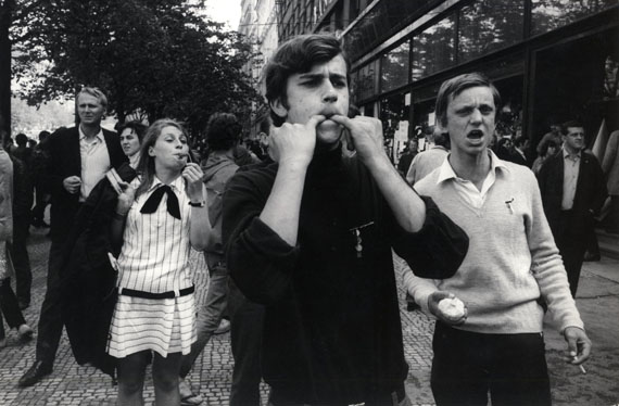 IAN BERRYCzechoslovakia. Prague. Czechs shout abuse at Russian soldiers in Wenceslas Square. 1968Vintage Silver Gelatin Print6 ¾ x 10 inches© Ian Berry / Magnum Photos