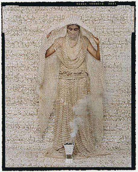 Les Femmes du Maroc: Fumée d'Ambre Gris, 2008 ©Lalla Essaydi / Courtesy of Edwynn Houk Gallery, New York