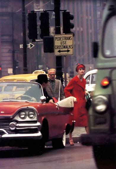 Anne St Marie and Cruser in Traffic, New York (Vogue 1962) © William Klein. Courtesy Michael Hoppen Gallery.