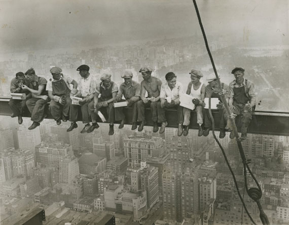 Charles C. Ebbets: Lunchtime Atop the World's Largest Building, Rockefeller Center, New York, 1932. Courtesy of Howard Greenberg Collection