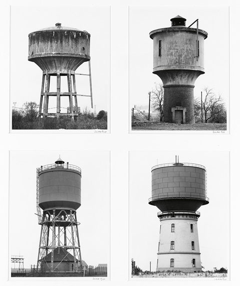 Bernd and Hilla Becher: Wassertürme [Water Towers], ferrotyped silver prints, circa 1970s, printed circa 1980s. Estimate $10,000 to $15,000. © Bernd and Hilla Becher