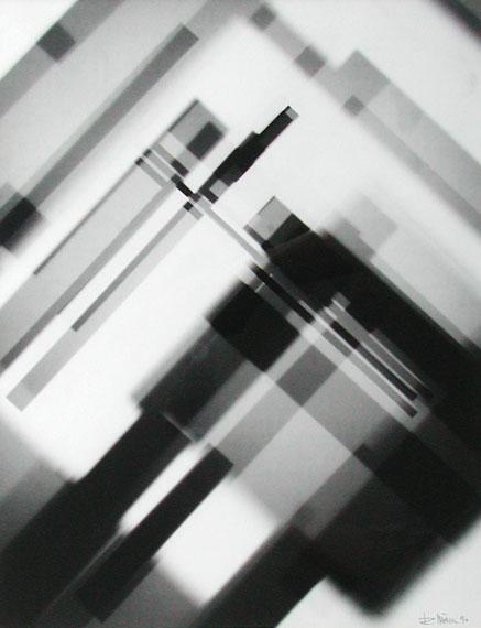 RENÉ MÄCHLER. Konstruktion, 1990. Fotogramm. Silbergelatine-Barytpapier. Unikat. 35 x 27 cm