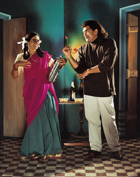 FLIRTING (AFTER 1990S KANNADA FILM STILL), FROM THE PROJECT NATIVE WOMEN OF SOUTH INDIA: MANNERS AND CUSTOMS, 2000-2004PUSHPAMALA N., INDIAN, B. 1956 WITH CLARE ARNI, BRITISH, B. 1962C-PRINT, 21 1/2 X 16 IN.COLLECTION OF SANJAY PARTHASARATHY AND MALINI BALAKRISHNAN.© PUSHPAMALA N., PHOTO COURTESY NATURE MORTE, NEW DELHI.