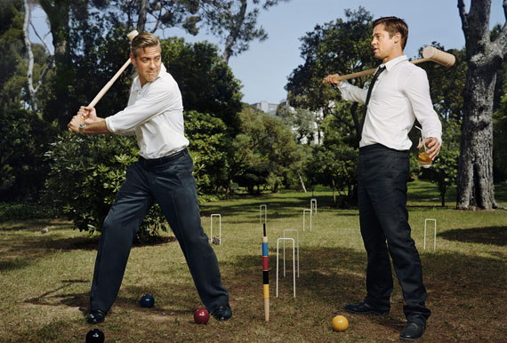 Martin Schoeller · George Clooney and Brad Pitt · Antibes · 2007