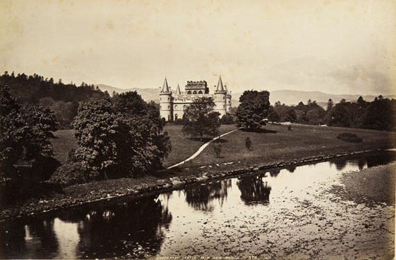 James Valentine. Inveraray Castle from New Bridge. From ROSPHOTO's collection, 1870-80s