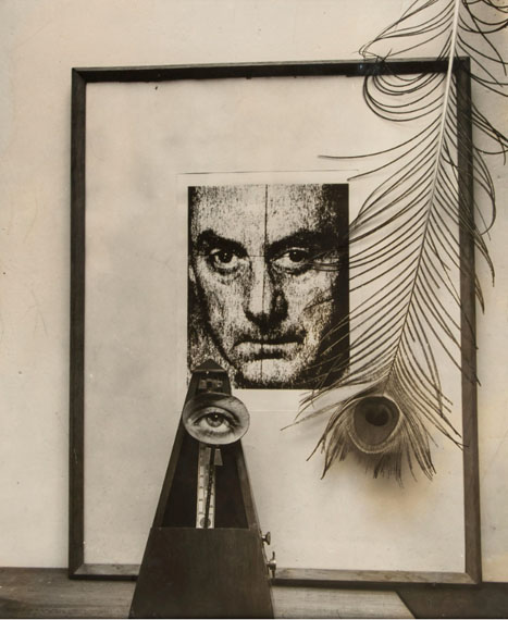 Lot 110Man Ray (1890-1976)Installation with Self-Portrait, ca.1950Gelatin silver print, signed in pencil, annotated in crayon with USIS stamp verso24 x 20cm (9 3/8 x 7 7/8in)Provenance: From the artist; Private Collection, Scotland; Christie's New York, 18 April 2002, Photographs, lot 82  £3,000 - 5,000