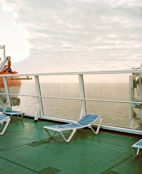 """Eva Leitolf: from the series """"Postcards from Europe 03/15""""Ferry Crossing, Melilla–Almería, Mediterranean 2009On 10 January 2009 I took the Juan J. Sister from Spanish Melilla on the Moroccan coast to Almería in Spain. The seven-hour crossing cost me €19.20.At least 14,714 migrants died attempting to enter Europe between 1988 and 2007, with 10,740 reported to have drowned in the Mediterranean and Atlantic on their way to Spain.Journal, 10 January 2009, Almería; Der Spiegel, 7 May 2008; Fortress Europe press release, 10 February 2010"""