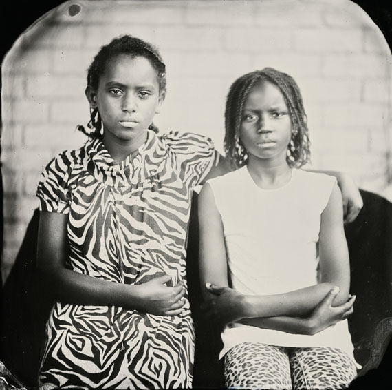 """Keliy Anderson-Staley, Mimi and Regina, 2014From the Tintypes series7 x 7"""" positive collodion on blackened aluminum metalUniqueCourtesy Catherine Edelman Gallery, Chicago"""