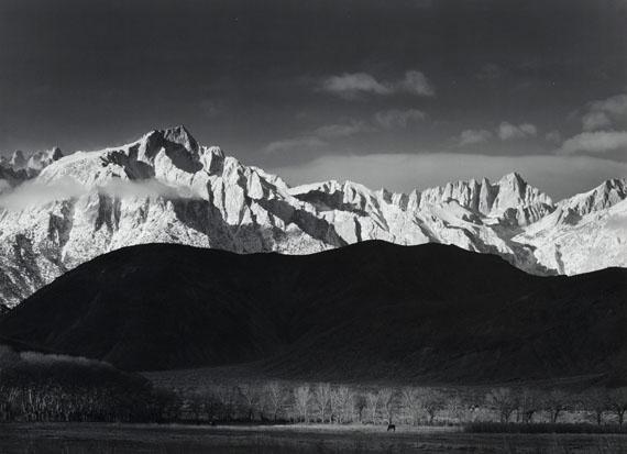 Ansel AdamsWinter Sunrise, Sierra Nevada from Lone Pine, California, 1944Mural-sized gelatin silver print$150,000 - 250,000