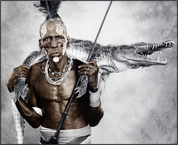 Jan C. SchlegelBiwa (44) with Crocodile, Karo Tribe, Ethiopia 2010Silver Gelatin Print, tonedEdition of 10© Jan C. Schlegel/ Courtesy of Bernheimer Fine Art