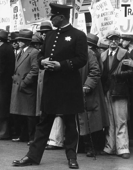 Dorothea Lange, The General Strike, Policeman, silver print, 1934. Estimate $40,000 to $60,000.