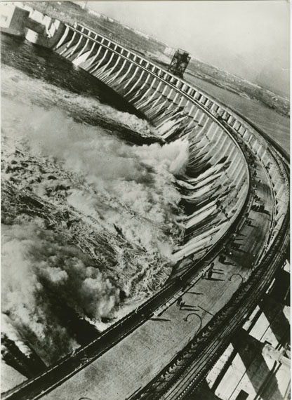 Maks Alpert, The Dnieper Hydroelectric Station, gelatin silver print, photographed in 1937, printed c. 1960s, 39.5 by 29 cm. Estimate: £1,000–2,000