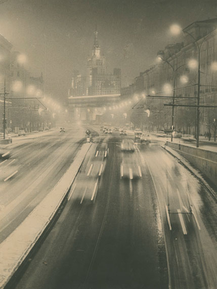 Mikhail Grachev, Moscow by Night, gelatin silver print, photographed and printed c. 1940s–1950s, 37 by 28.5 cm. Estimate: £700–900