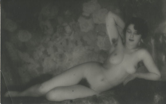 Alexander Grinberg, Reclining Nude, gelatin silver print, photographed and printed c. 1920s–1930s, 10.5 by 16.5 cm. Estimate: £1,000–2,000
