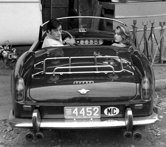 "Jane Fonda and Alain Delon arriving at the film set of ""Les Felins"", Antibes 19641961 Ferrari 250 GT SWB California Spider, Chassis no 2935GT© Edward Quinn Archive"