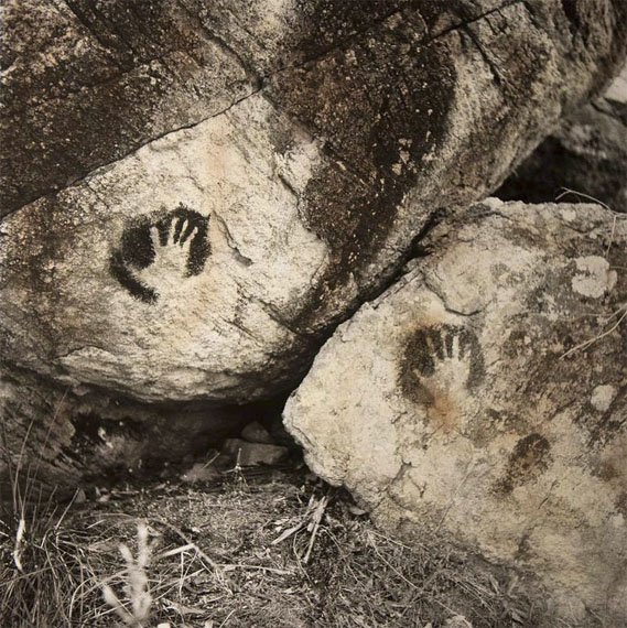 James Tylor: Hand prints on rock