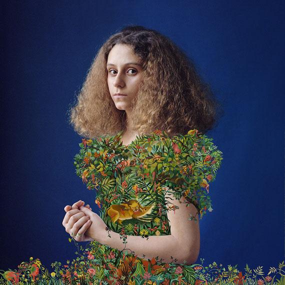 Elene UsdinAdèle d'après le Douanier Rousseau 2016Archival pigment print  with acrylic painting