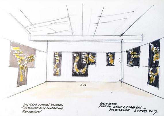 Fabrizio Plessi: sketch for the exhibition Memoria dell'acqua at Beck & Eggeling International Fine Art, Dusseldorf, 2017