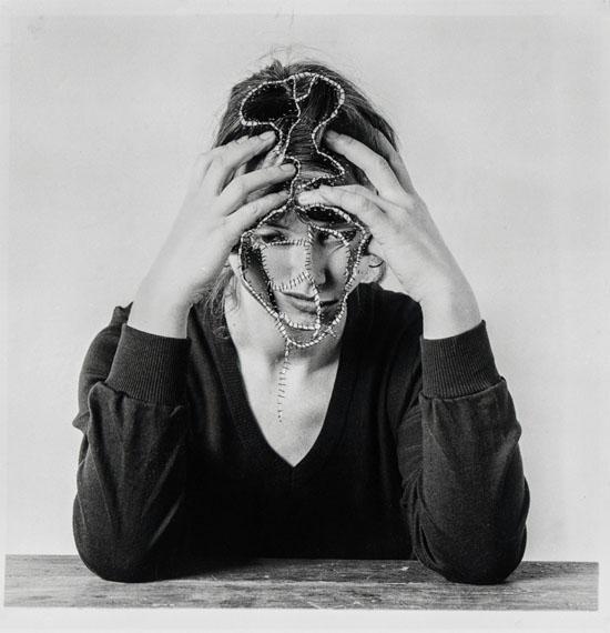 Annegret SoltauSich zusammenhalten, 1978Overstitched B/W Photograph19 3/10 × 19 3/10 in, 49 × 49 cm UniqueCourtesy Anita Beckers, Frankfurt
