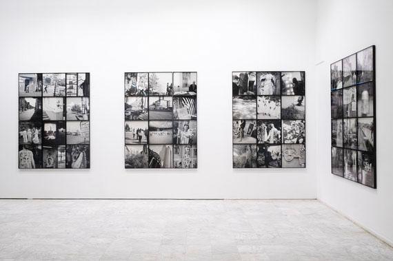 Akinbode Akinbiyi, Passageways, Involuntary Narratives, and the Sound of Crowded Spaces, 2015–17, forty-eight black-and-white inkjet prints, installation view, Athens Conservatoire (Odeion), Athens, documenta 14, photo: Mathias Völzke
