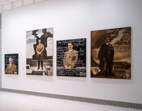 Piotr Uklański and McDermott & McGoughThe Greek Way (2017)Installation with thirty-two gelatin silver prints of photographs by Leni RiefenstahlOverall dimensions variableIncludes seven paintings by McDermott & McGoughEMST—National Museum of Contemporary Art, Athens