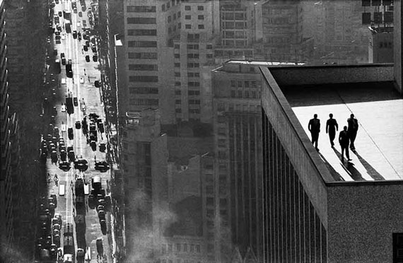 René Burri: Men on a rooftop, Sao Paolo, Brazil, 1960Signed Silver Gelatine Print, 40 x 50 cm© René Burri/Magnum Photos