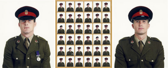 """Lot 2144© Frank Thiel""""Die Alliierten"""" (The Allies). 1994Twelve-part installation, composed of 4 triptychs, C-prints, Diasec, 2000/2001. Large photos each 217,5 × 174 cm (85 5/8 × 68 1/2 in.), small photos each 34,8 × 27,8 cm (13 3/4 × 11 in.). Each signed, dated (exposure and print), titled, inscribed and editioned in black felt-tip pen on the reverse of frame and upper frame as well as dimensions. Each one of 6 editioned copies. [2045] Each framedProvenance: Collection Wolfgang JoopEstimate: EUR 80.000 – 120.000 / USD 94,200 – 141,000"""