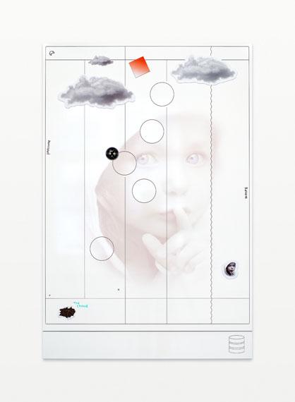 Inclusion/Exclusion (Scrum Kanban), digital print on whiteboard, magnets, 2015© Harm van den Dorpel / Neumeister Bar-Am, Berlin