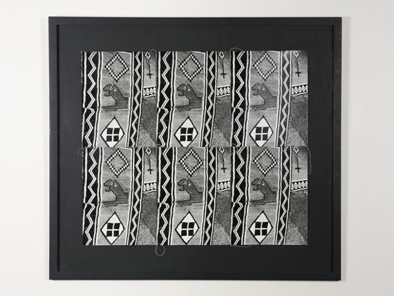 Andy Warhol, Textiles , 1976/1986, Six gelatin silver prints stitched with thread, 71 x 79 cm © Estate of Andy Warhol / SAGE Paris.
