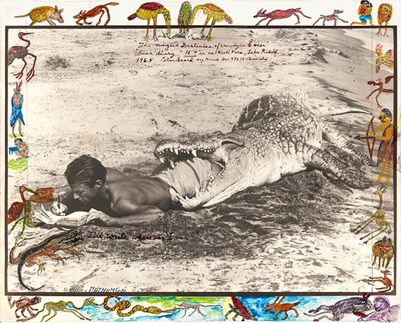 """Lot 2023 Peter BeardNew York 1938 – lives in New York & Kenya""""I'll write whenever I can..."""". 1965Later gelatin silver print. With original drawings by Kivoi Mathenge in India ink, pencil, watercolour and tempera. 33,6 × 49 cm (40,5 × 50,2 cm) (13 ¼ × 19 ¼ in. (16 × 19 ¾ in.)) EUR 30.000–40.000USD 36,900–49,200"""