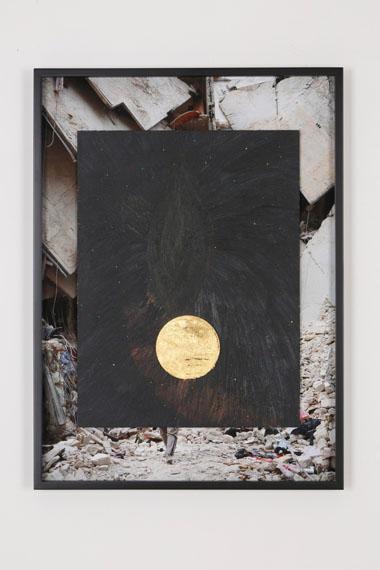 Agnieszka Brzeżańska, SOVEREIGN AVATAR, 2014Acrylic paint on MDF board, metal leaf, inkjet print on archival papercourtesy Agnieszka Brzeżańska; NANZUKA, Tokyo, photo: Keizo KiokuPrivate collection