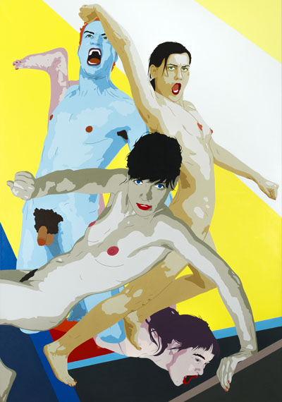 Florian Merkel: Auftrieb, 2011, Acrylfarbe auf Baumwolle, 200 x 140 cmLeihgabe des Künstlers © Florian Merkel