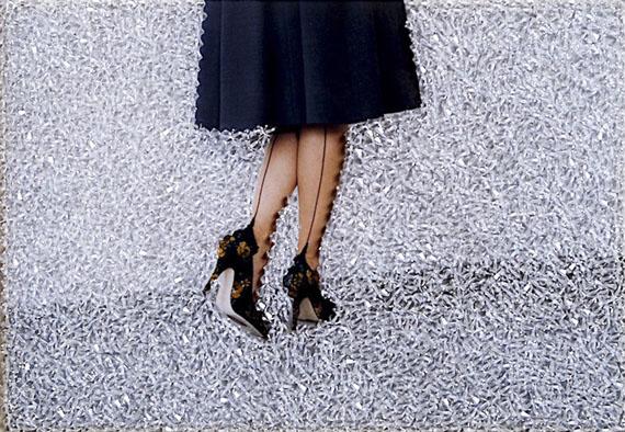 Sissi Farassat: Black Shoes, 2016, C-Print embroidered with Swarovski stones, Unique piece