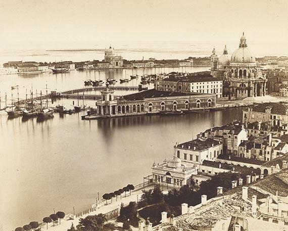 Venice, vista from the Campanile with the Punta della Dogana, the Church of Santa Maria della Salute and Giudecca island, Negative before 1864albumen paper print mounted on card
