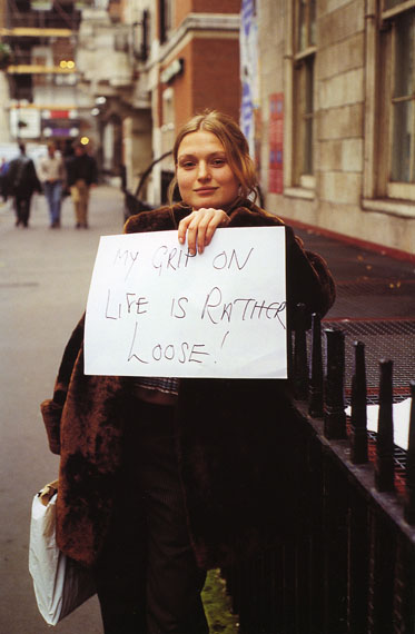 """Gillian WearingFrom the series """"Signs that Say What You Want Them To Say and Not Signs that Say What Someone Else Wants You To Say"""" 1992-93C-print on aluminum44.5 x 29.7 cmCourtesy: Maureen Paley, London"""