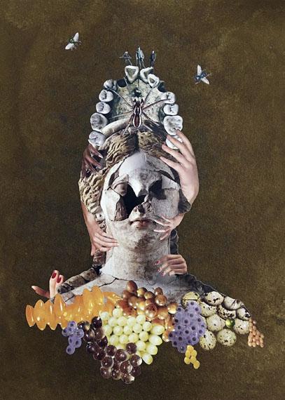 Deborah KellyDeath Cult, 2017Collage, pure pigment, ink, gouache on Moulin de Larrocque handmade cotton paper40,5 x 32,7 cmCHF 3'500