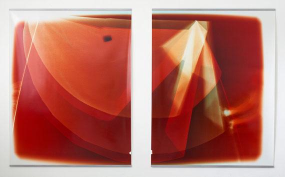 Gwenneth BoelensLiar's Cloth (guileless note), Diptychon, 2015Fotogramm, Opaque-Projektion, chromogener Abzug2-teilig, je 183 x 235 cm
