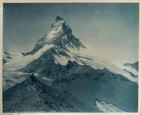 56. Adolphe Braun Alpes suisses, c. 1895. Vallée de Zermatt. Mont Cervin. Vue prise du Hoernlin. N°2614. Vintage carbon print.