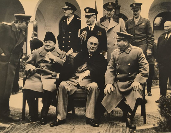 SAMARY GURARY, Churchill, Rousvelt and Stalin in Yalta, 1945, Stamp of S. Gurary and stamp of Borodulin Collection on verso 27.7 x 36.8 cm
