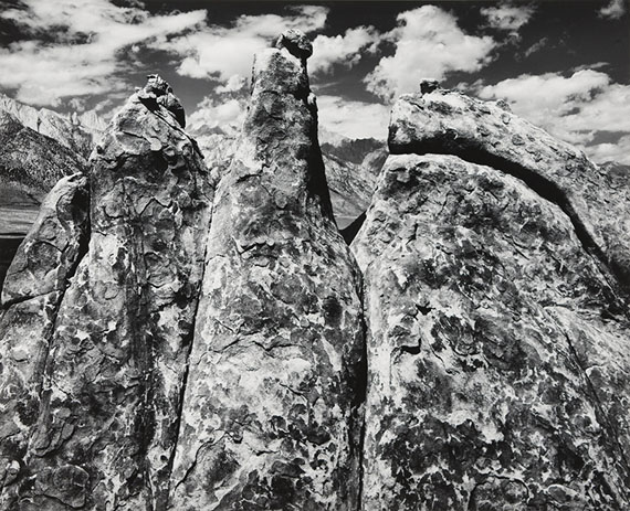 ANSEL ADAMSPinnacles, Alabama Hills, Owens Valley, California From Portfolio V, 1945 Silver print mounted to Strathmore board© The Ansel Adams Publishing Rights Trust