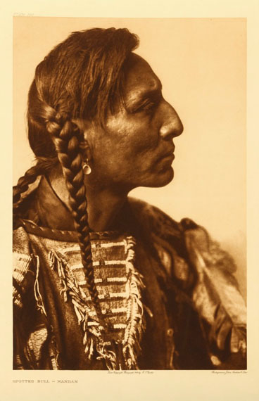 Lot 508Edward S. Curtis (1862-1958) SPOTTED BULL, MANDAN, 1908Photogravure portrait, image size, 397mm x 260mmEstimate: £700-£900Click to see the image