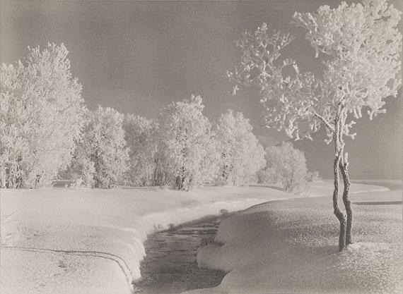 Albert Steiner, Winter landscape near Samaden, undated, signed Vintage gelatin silver print toned, 16.5 x 23 cm / 6.5 x 9 in. (size print), signed and titled on recto, ©Bruno Bischofberger, Meilen-Zürich