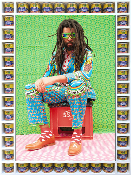 Hassan HajjajMarc Hare 2013Wood sprayed white gloss with Coconut Crunchy nuts tins and metallic lambda on 3mm dibond100 x 135 cmEdition of 5 + 1/2 AP Courtesy Taymour Grahne
